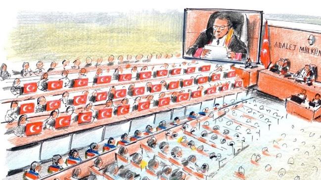15 Temmuz Şehitler Köprüsü davasında salona 34 şehit için 34 Türk bayrağı getirildi
