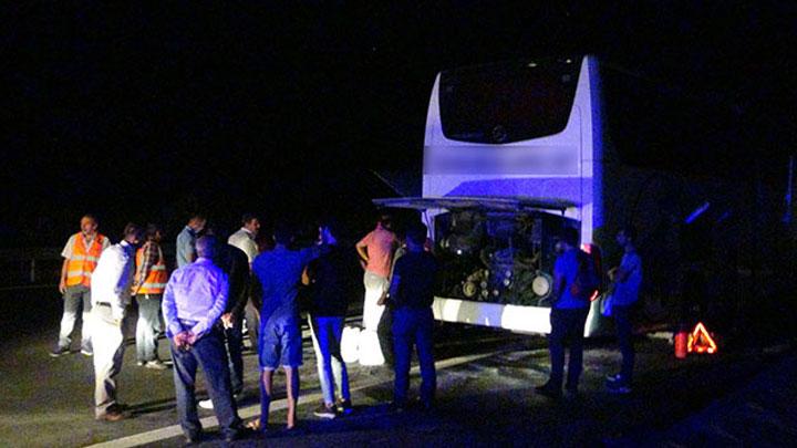 Şanlıurfa'da, yolcu otobüsünde yangın çıktı