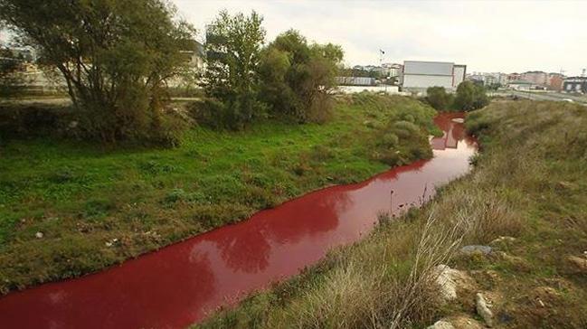 Çorlu Deresi kimyasal atıklar nedeniyle kırmızı renge boyandı