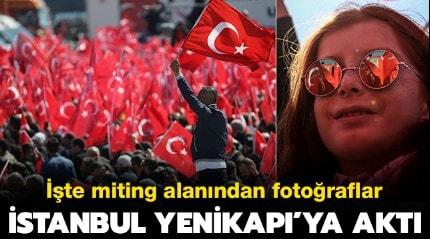 İstanbullular Yenikapı miting alanına akın etti! İşte ilk kareler...